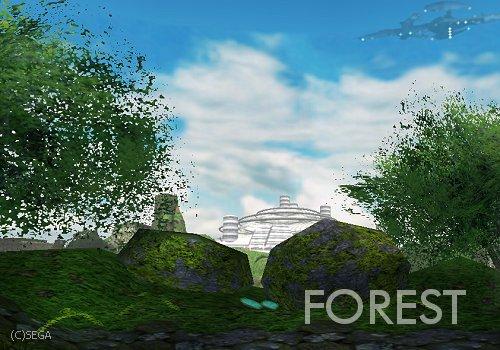 森エリアより。セントラルドームと右上にはパイオニア2が!?